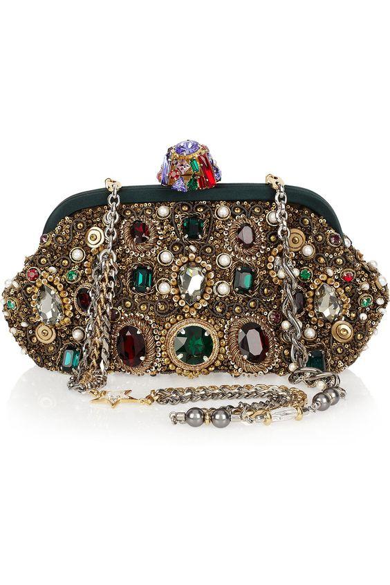 Dolce & Gabbana Jewel & Pearl-embellished Clutch