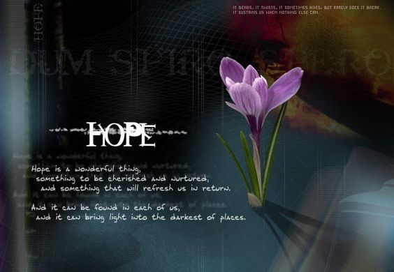 Hope is such a marvelous thing. It brings color into the darkest places,