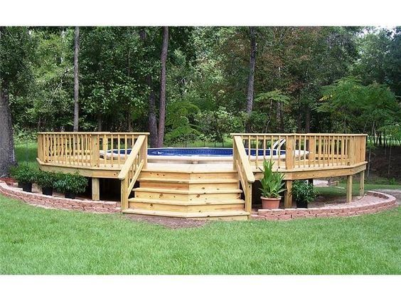 swimming pool decks plans ground love deck surrounds continuous porch above pools kits wood design software free