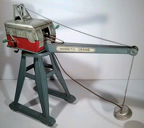Very RARE Antique 1950s Bandai Toys Litho Tin Magnetic Crane | eBay