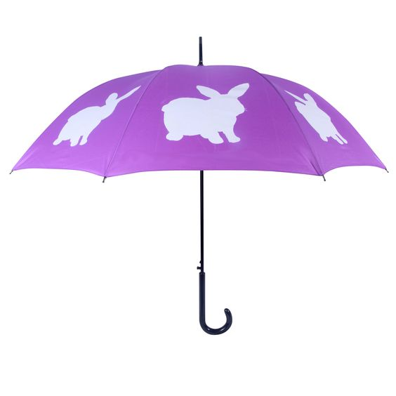 San Francisco Rabbit Walking Stick Umbrella, White on Purple | ACHICA