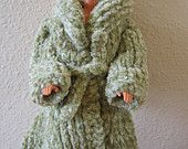 Barbie Doll Clothes Hand Knit Green Chenille fitted Coat fits 11 1/2 inch fashion doll such as Barbie