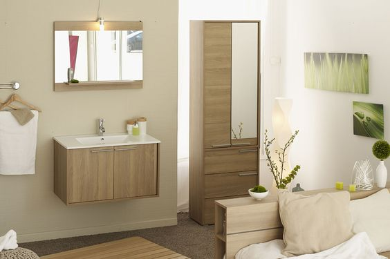 meuble salle de bain 1 ceramique 1 miroir couleur chene With miroir salle de bain chene clair
