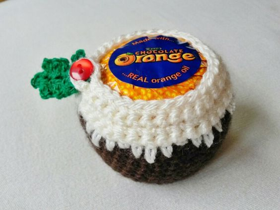 Christmas pudding cosies for chocolate oranges. https://www.facebook.com/pages/Bella-Blossom/154841507900085