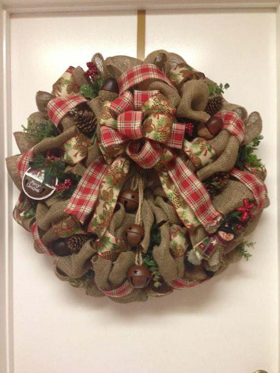 Christmas burlap wreath by DazzlemeWreaths on Etsy, $175.00