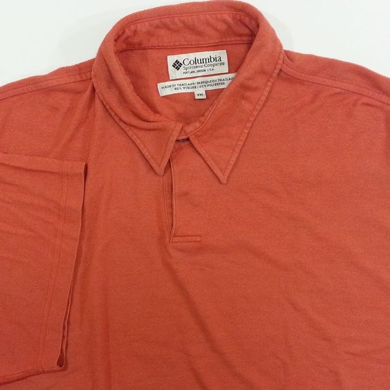 columbia shirt 2xl mens orange golf polo short sleeve long