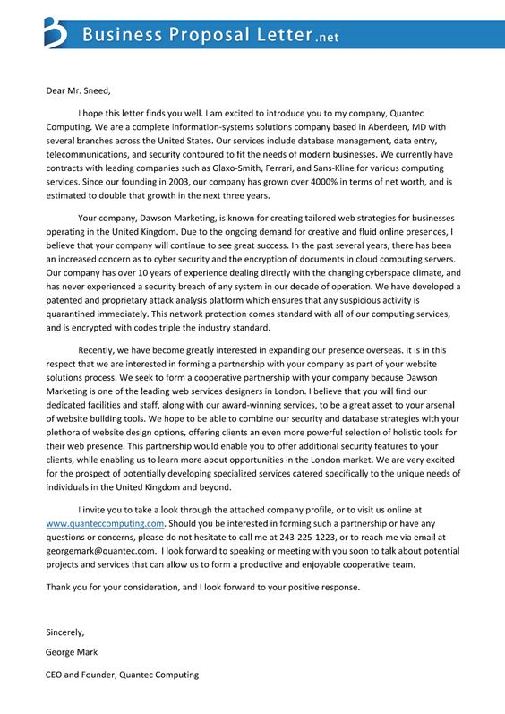 How To Write Business Proposal Letter Captivating Business Proposal Letter Businessproposa On Pinterest