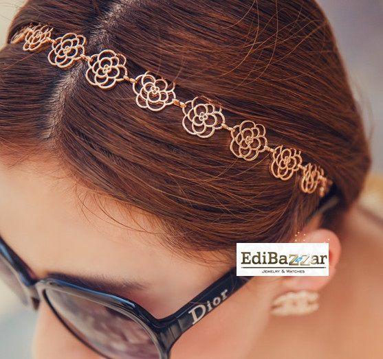 Metalowa Opaska do włosów złota kwiaty róże EdiBazzar