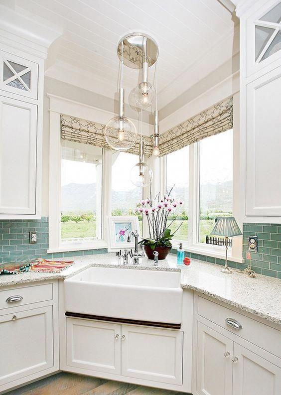 35 Best Inspiring Corner Kitchen Sink Cabinet Designs Ideas For Home Corner Sink Kitchen Kitchen Sink Design Farmhouse Sink Kitchen