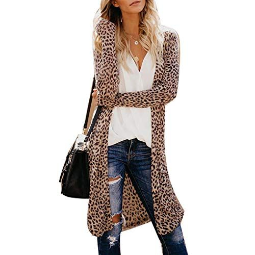 Womens Leopard Print Loose Kimono Long Cardigans Ladies Casual Outwear Coat Tops