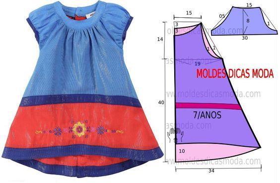 O molde de vestido criança encontra-se no tamanho 7 anos. A ilustração do molde de vestido criança não tem valor de costura.: