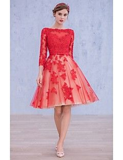 Vestido - Vermelho Festa de Coquetel Baile Barco Coquetel Renda