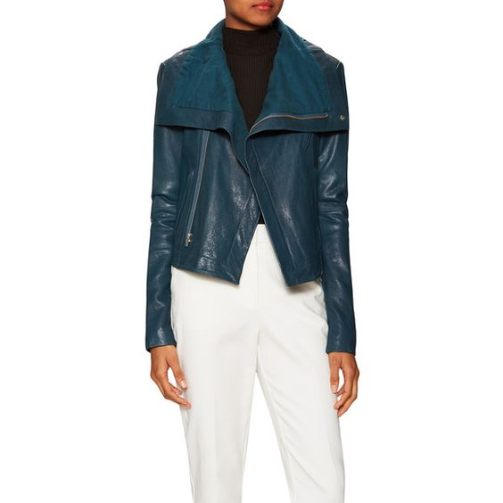 Veda Women's Max Classic Leather Jacket - Blue - Size P ($469) ❤ liked on Polyvore featuring outerwear, jackets, blue, zipper leather jacket, veda, blue leather jacket, real leather jacket and turtleneck top