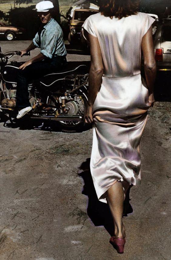 Ann Rhoney, Silk Dress Coming, 1982 #fabrics #dressmaking #calicolaine