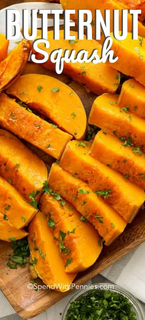 This Baked Butternut Squash Is Made In The Oven With Butter