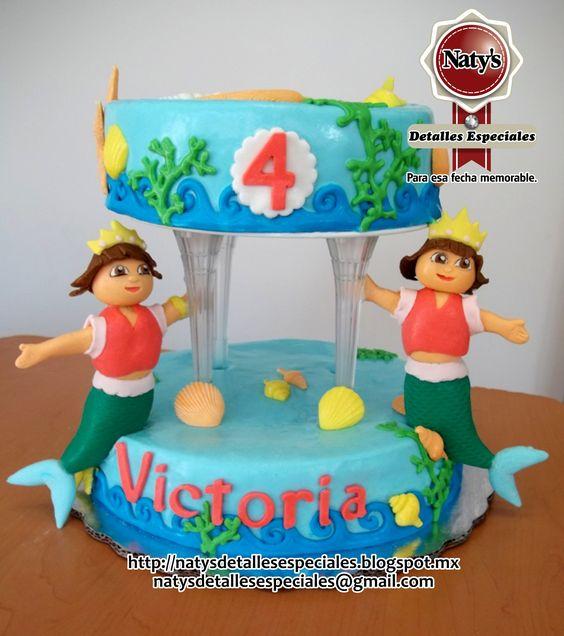 Pastel de fondant personalizado Dora sirena