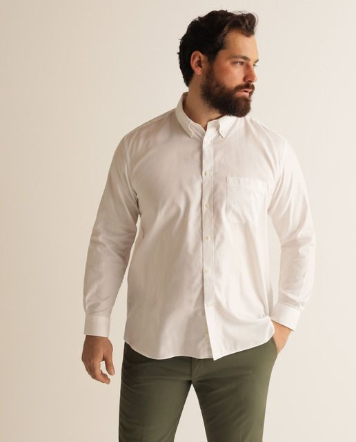 Camisa De Hombre Sport Lisa Blanca Tallas Grandes En 2020 Camisas Hombre Camisas Y Hombres