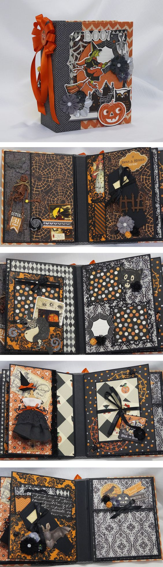 Halloween Mini album using Anna Griffin papers. by Terry's scrapbooks. https://www.youtube.com/watch?v=THxyjpF4eA4 http://www.ebay.com/itm/262027700295?ssPageName=STRK:MESELX:IT&_trksid=p3984.m1555.l2649