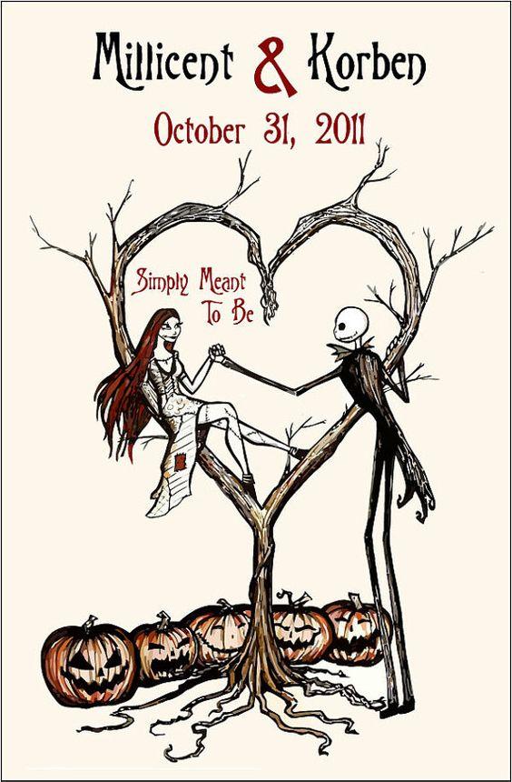 Set of 25 Vintage Fall Autumn Halloween Spooky Burton Style Wedding Programs - 75 cents each on Etsy, $19.91 CAD