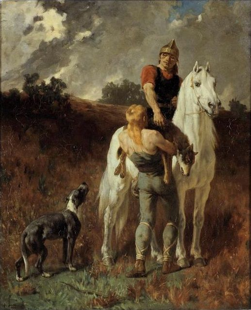 """""""Gaulois Revenant de la Chasse"""".  (1906).   (by Évariste Vital Luminais).  Musée des Beaux-Arts de Rennes."""