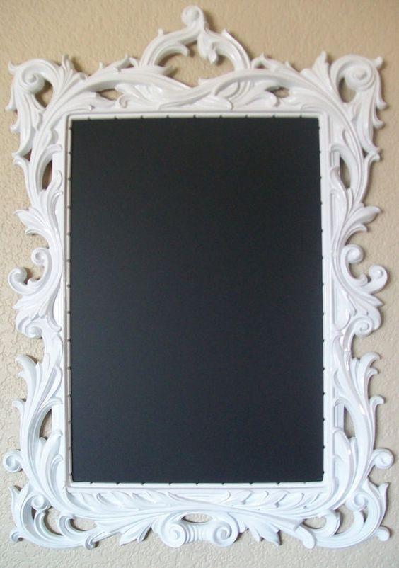 White Chalkboard Large Ornate Vintage Framed By