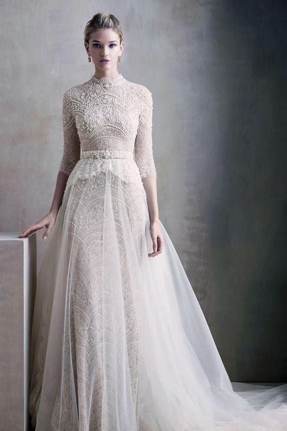 Romantic Fashion - white bead embroidered dress, couture fashion // Ersa Atelier