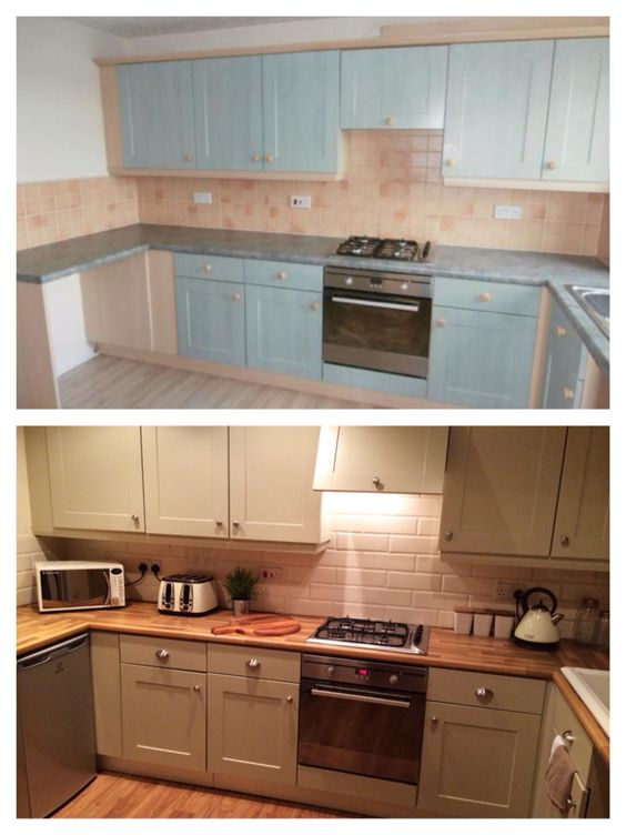My DIY Kitchen! First time painting cupboards. Farrow and Ball - Bone.