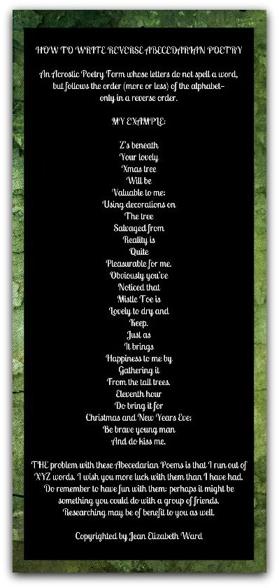 REVERSE ABECEDARIAN POETRY An Acrostic Poetry Form Whose