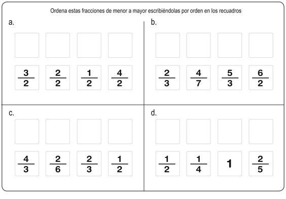 Ejercicos De Fracciones Para Repasar En Primaria Ejercicios De Fracciones Fracciones Fracciones Para Primaria