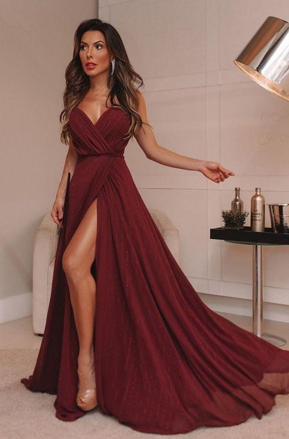 vestido de formatura elegante atrevido
