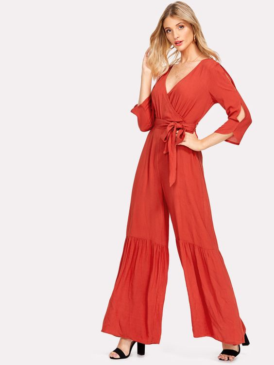 Ruffle Flared Hem Surplice Wrap Jumpsuit -SheIn(Sheinside)