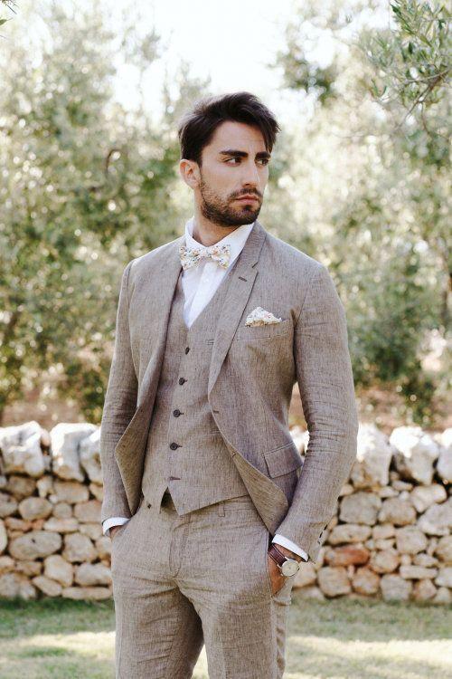 Linnèo Archivable Clothing brown linen groom suit #linenweddingdresses