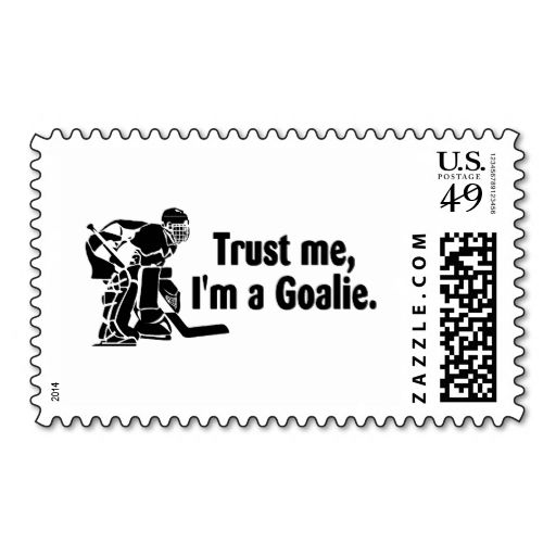 Trust Me Im A Goalie (Hockey) Postage Stamps. I love this design! It is available for customization or ready to buy as is. All you need is to add your business info to this template then place the order. It will ship within 24 hours. Just click the image to make your own!