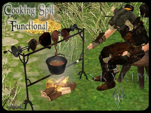 Skyrim Cooking Spit as Fire Pit   Sims, Skyrim and Video games