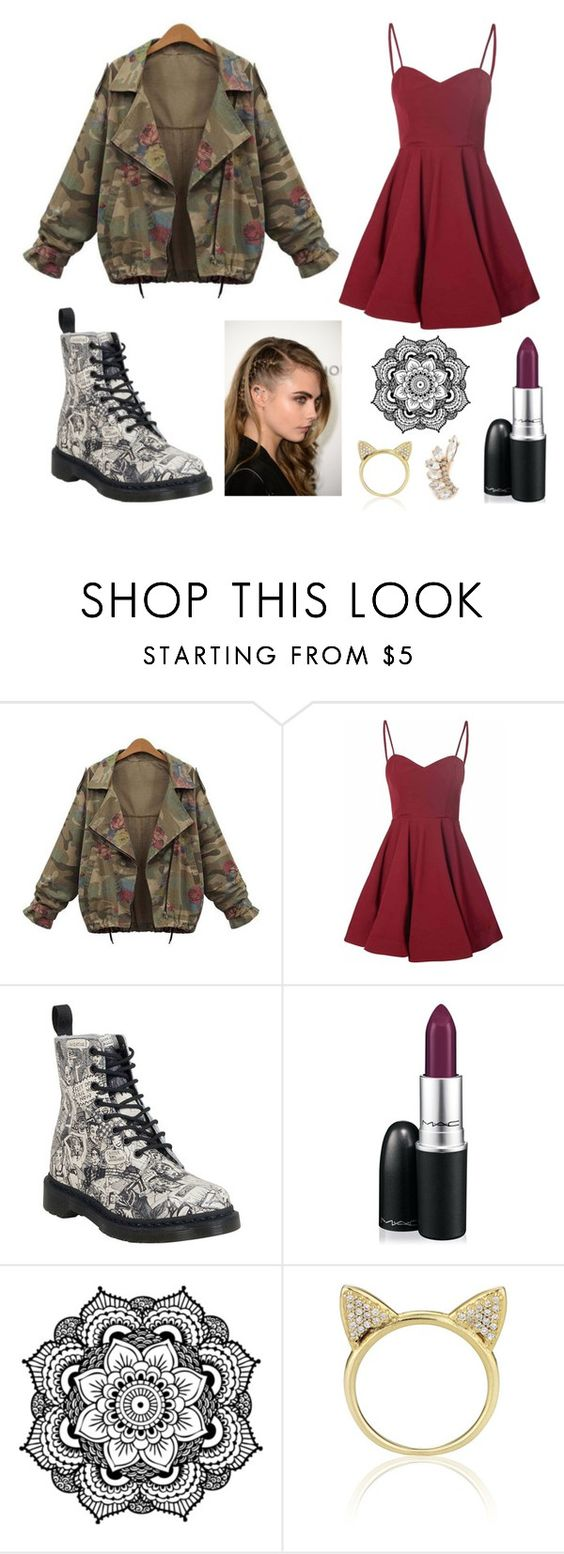 """Rockin' and Rollin'"" by doylesarah ❤ liked on Polyvore featuring Glamorous, Dr. Martens, MAC Cosmetics, Aamaya by priyanka and Jules Smith"