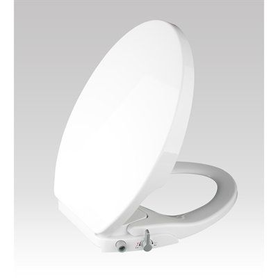 JACUZZI White Plastic Elongated Slow Close Bidet Toilet Seat