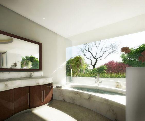 Interior, Incredible Beautiful Interior Designs Inspiring Creativity: Back To Nature Bathroom Design.  Amazing use of marble.