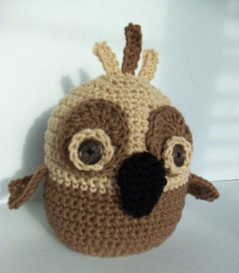 8 Inch Cuddly Light and Medium Brown Owl by SnugableTouches, $15.00