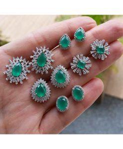 brincos delicados semi joias zirconias esmeraldas leitosa #bijuteriasfinas #bijuteriafina