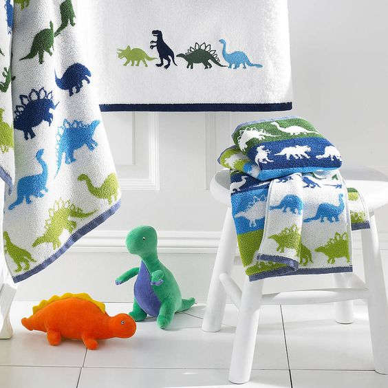 Boy S Bath Towel With Dinosaurs Bathroom Kids Dinosaur Room