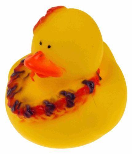 Set 12 Hawaiian Lei Rubber Ducks Duckie Luau Party Favors Cake Toppers Toy Dozen