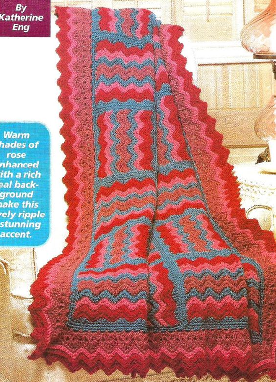 Crochet Pattern for a Rippling Jewels Afghan Couverture ...