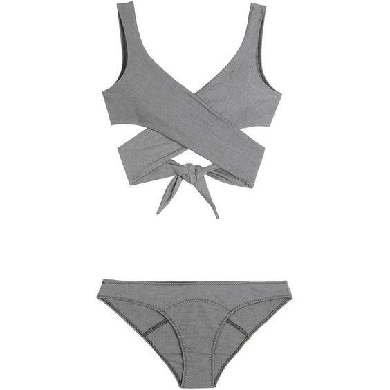 Lisa Marie Fernandez Marie-Louise Wrap Bikini ($495) ❤ liked on Polyvore featuring swimwear, bikinis, swimsuits, grey, bikini two piece, bathing suit swimwear, wrap bikini swimsuits, swimming costume and bikini swimsuit