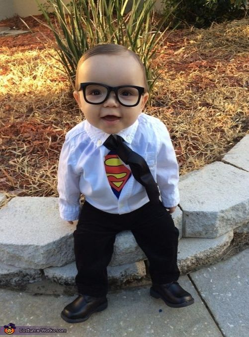 Best Halloween costumes for kids, DIY kids costumes, easy kids costumes to make, adorable and cute Halloween costumes for toddlers and infants, Halloween party ideas, PartyPinching.com , Clark Kent baby costume: