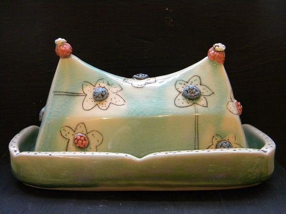 Aqua butterdish with flowers. $91.00, via Etsy.