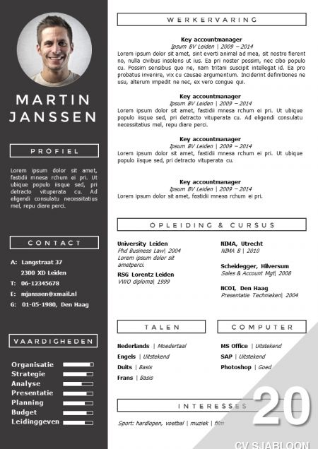 Modern CV ontwerp Zelf te bewerken in MS Office direct - office resume template
