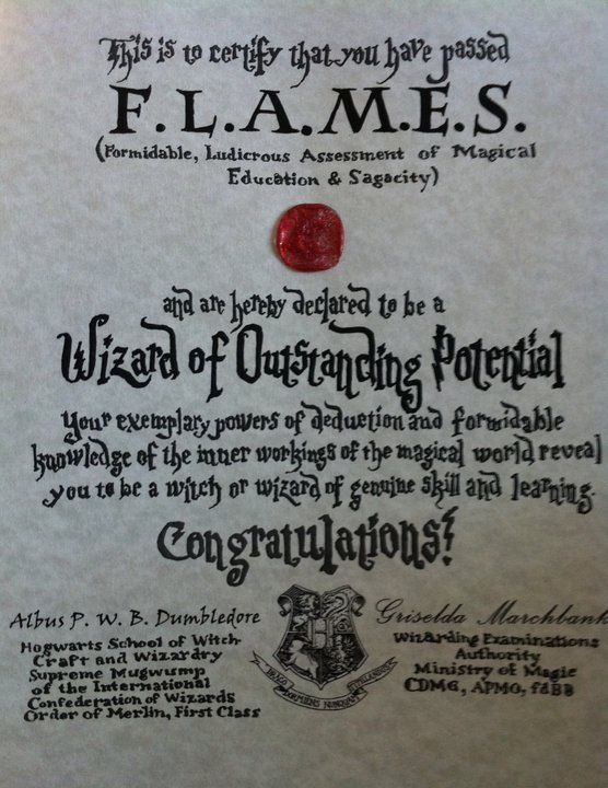 One of our hogwarts quotgraduationquot certificates from the last series of potter parties summer of for Hogwarts certificate