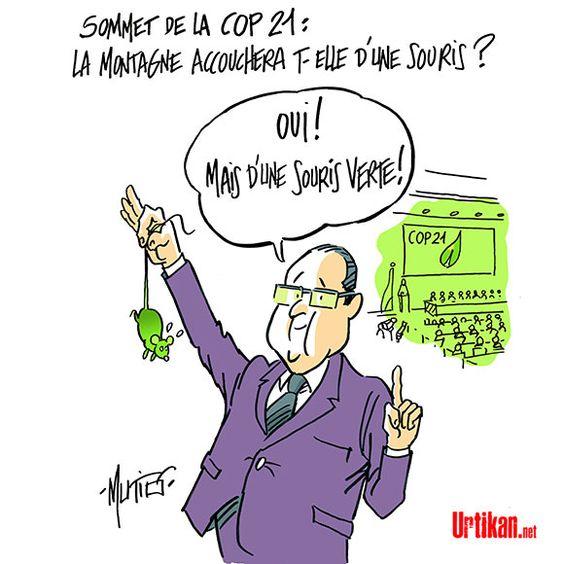 COP 21: un projet d'accord présenté en fin de matinée en présence de Hollande - Dessin du jour - Urtikan.net