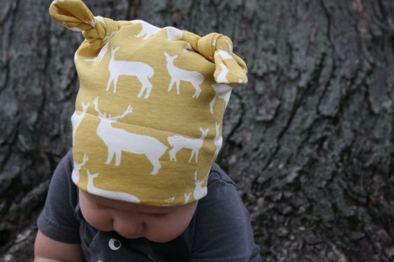 Organic Double Knot Hat - Elk Farm in Mustard