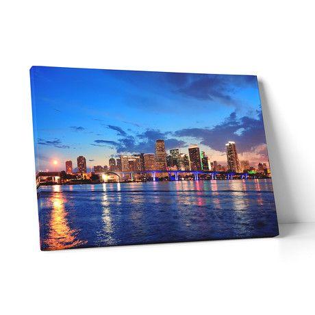 """Miami // Night Skyline (20""""L x 30""""H x 0.75""""D)"""